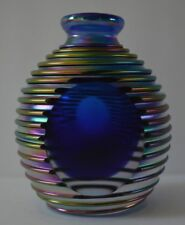 Art Glass Faceted Threaded Iridized Cobalt Blue Vase Attributed to Igor Muller