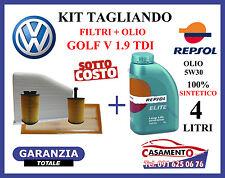 KIT TAGLIANDO OLIO MOTORE REPSOL + 4 FILTRI VOLKSWAGEN VW GOLF V 1.9 TDI