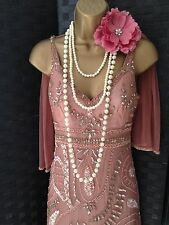 Principles pink bead 20s deco gatsby evening wedding party dress 8 36 Us 4