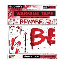 Beware Forum Halloween Scary Horror Bloody Handprints 20' Party Tape White Red