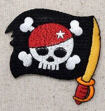 Iron On Embroidered Applique Patch Jolly Roger Pirate Flag Skull Cross Bones