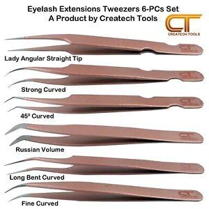 CT Eyelash Extension Tweezers Set, Straight Curved Individual Isolation Volume