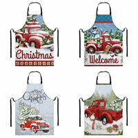 Christmas Truck Pattern Aprons with Pocket Waterproof Cooking Kitchen BBQ Bib