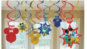 Mickey Mouse Party Supplies Clubhouse Swirl Decorations (12 Pieces)