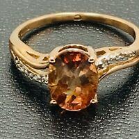 Solid 375 9ct Red Gold Umba & White Zircon Dress Ring UK N 1/2 US 7 L192