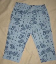 12 ~ style & co ~ cotton stretch capri ~ blue paisley print ~ 12