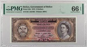 BELIZE $2...1975 ...P34b...PMG 66...Gem Unc PPQ