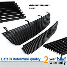 2pcs Fits 2002-2005 Ford Explorer (logo cover) Black Billet Grille Grill Combo