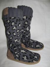 Victoria Secret Pink Gray Leopard Sweater Tall Fur Slipper Boots Womens Size 7/8