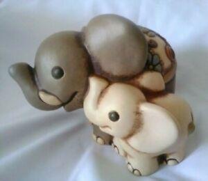 THUN club 2006 Elefante con cucciolo variopinto ceramica elefant baby ceramiche