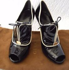 Gucci Newton Black Patent Leather Peep Toe Ankle Booties Size 6 1/2 B