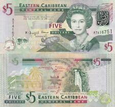 East Caribbean States 5 Dollars (2008) - Green-Throated Carib/p47 UNC
