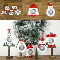Christmas Wooden Hanging Photo Frame Xmas Tree DIY Ornaments Pendant Decor QK