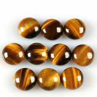 5 PIECES OF 8mm ROUND CABOCHON-CUT NATURAL AFRICAN GOLDEN TIGERS EYE GEMSTONES