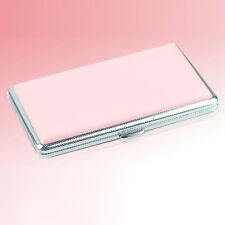 Pink Women Lady Fahion Leather Slim Cigarette Case Box Tobacco Holder 14 Loaded