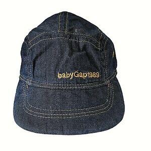 BABY GAP 1989 Denim Hat 0-6 Months 100% Cotton Dark Blue Rinse Baseball Cap