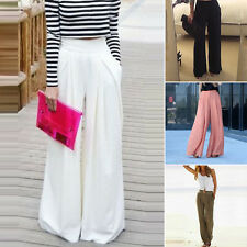 Pantalon femmes solide LARGE JAMBE HAUT TAILLE LONG confortables accessoires été