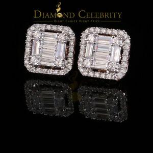 10k Rose Gold Finish Lab Created Diamond Silver Square Men/Women Stud Earrings