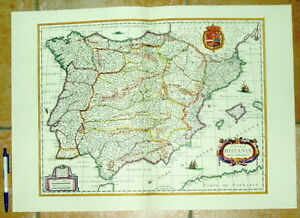 Spanien Hispaniae alte Landkarte Reproduktion 60 x 43 cm old map spain