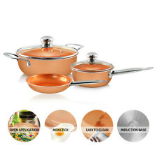 5 Pc Set of Non Stick Copper Sauce Pots and Pan induction compatible oven safe