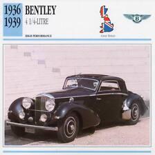 1936-1939 BENTLEY 4 1/4 Litre Classic Car Photo/Info Maxi Card