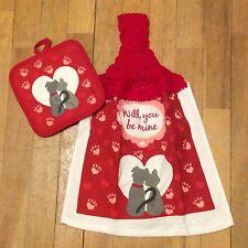 Will You Be Mine Valentine Kitchen Towel & Hot Pad - 2 Piece Set - Love Spring