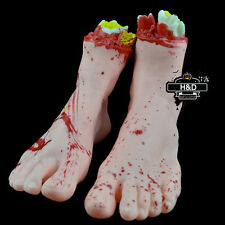 Horror Bloody Fake Rubber Severed Body Part Foot Scary Life Size Halloween Props