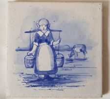 MAW & CO BLUE & WHITE TILE FEATURING MILK MAID IN FIELD WITH COW. 5 INCH SQUARE