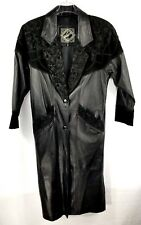 Winlet Womens Trench Coat Genuine Leather Rose Pattern Suede Long Black Size S