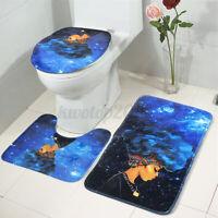3Pcs African Girl Bathroom Rugs Set Non-slip Bath Mat Toilet Rug Lid Cover Decor