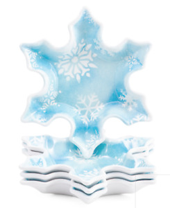 x8 Nicole Miller Blue Snowflake Melamine Appetizer Plate Set Christmas Holiday