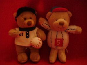 """Mini Plush Baseball Bears 4.5"""""""