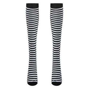 1 Pair Womens Over Knee Length Socks Breathable Anime Pinstripe Stretchy Dance