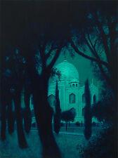 Excelente Mark Harrison Original medianoche MAHAL Mezquita Taj Mahal islámica de pintura