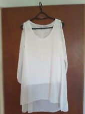 Mjaorah ladies off white dressy top with cut outs on sleeves size S