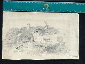 """1858 ORIGINAL PENCIL DRAWING SIGNED AND DATED """"BIRTH PLACE""""Ina Maunsell."""