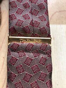 Trafalgar Men's Woven Silk Suspenders Leather Button Tabs Gray Red Geometric