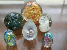 Lot 6 Paperweights Glass Hand Blown (3-G/ Sealife/ 1986 Signed Obg/Lg Blue Signe