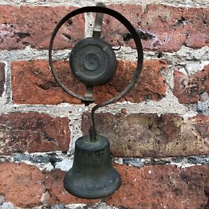 Authentic Victorian Brass Steel Spring Servant Shop Door Bell UnRestored Antique