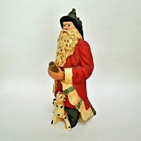 "Vintage Wood World Fire Fighter Santa & Dalmatian Figurine 9"" Pecan Resin 1993"