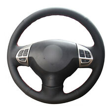 DIY Steering Wheel Cover Black Leather Hand Sewing For Mitsubishi Lancer EX