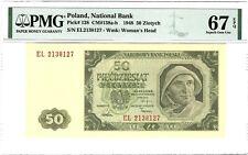 POLAND 50 Zlotych 1948, P-138 National Bank, PMG 67 EPQ Superb Gem UNC, Scarce