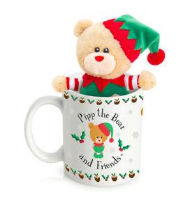 Keel Toys 12cm Pipp The Christmas Teddy Bear Elf Plush Soft Toy & Mug Gift Set