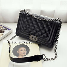 NEW Women Quilted Leather Shoulder Messenger Chain Handbag Black Fashion Bag