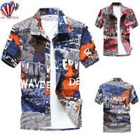 Men Short Sleeve Blouse Hawaiian Shirts Summer Beach Holiday Casual T Shirt Top