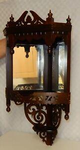 Mirror Backed Mahogany Fretwork Corner Shelf