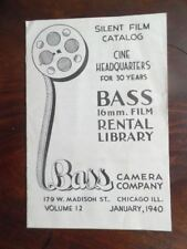 1940 Bass Camera Company 16mm Movie Film Rental Library Catalog Vintage Chicago