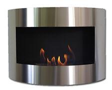 Cheminée à bio éthanol Diana Deluxe Acier Inox cheminée murale + brûleur 1 litre