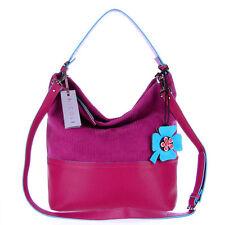NICOLI Italian Made Fuchsia Suede Designer Bucket Hobo Shoulder Bag with Flower
