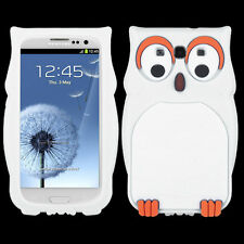 For Samsung Galaxy III 3 Rubber SILICONE Skin Gel Case Phone Cover White Owl